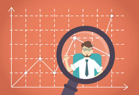 the leader: Business development by expert. Business leader - vector illustration