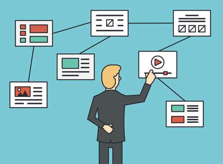 flujo: Utilizando el sitio web organigrama sitemap conexión, trabajando algoritmo y el sitio de navegación estructura. Estilo de línea plana - ilustración vectorial