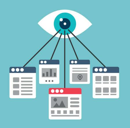 Proces van het creëren van interactie met bezoekers van de site. Optimalisatie van webpagina's of landingspagina's - vector illustratie Stockfoto - 35816891