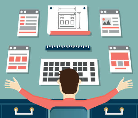Vector flat illustration of application or website development. Working process of design and programming - vector illustration