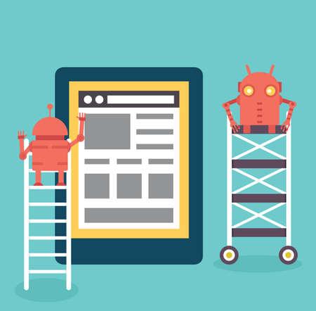 construction management: Processo di creazione del sito. Quadro scheletro Sviluppo di un sito web. - Illustrazione vettoriale