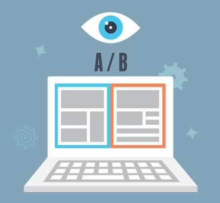 A  B testen optimalisatie van de website. Waarvan één converteert beter. Bezoeker en user experience - vector illustratie