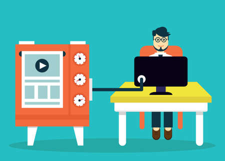 users video: Process of creating site. Development skeleton wireframe of a website - vector illustration Illustration