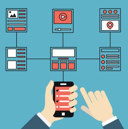 사용자: 와이어 프레임 및 웹 사이트의 구조. 장치에 대한 모바일 애플리케이션의 응답 웹 디자인. 사용자 경험 및 상호 작용 - 벡터 일러스트 레이 션