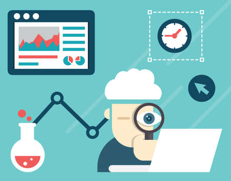 Vector illustration of web analytics information and development website statistic - vector illustration 일러스트