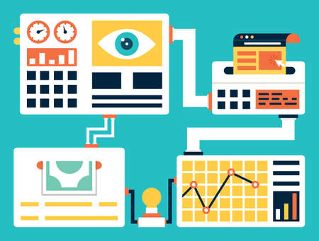 コンバージョン率の最適化の概念はベクトル。顧客 - ベクター グラフィックに変換するの訪問者の割合を増やす目的でウェブサイトの訪問者の経験  イラスト・ベクター素材
