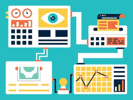 Vector concept van het succespercentage optimalisatie. Het creëren van een ervaring voor een website bezoeker met als doel het verhogen van het percentage van de bezoekers die om te zetten in klanten - vector illustratie