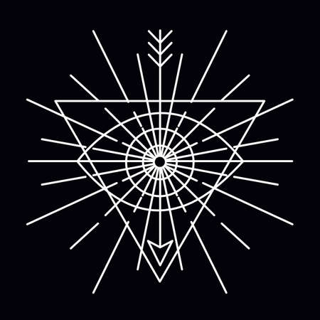 illuminati: Vector linear emblem - abstract hipster icon template - vector badge Illustration