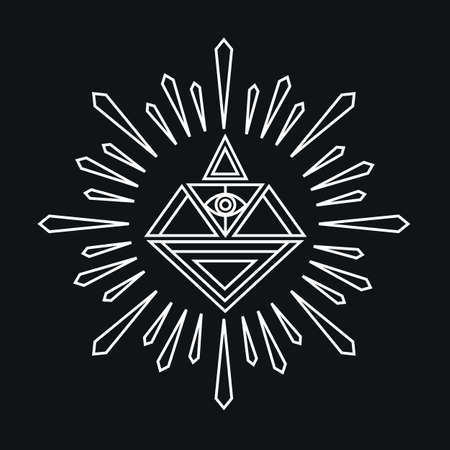 illuminati: Vector linear abstract hipster icon template - magical diamond - vector badge Illustration
