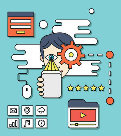 emarketing: Concept of user experience, webpage search engine optimization, web site analyzing and content. Usability of content for users - vector illustration