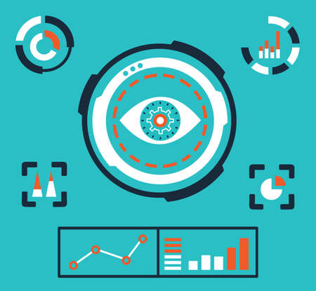 Vector illustration of analytics information on the dashboard and process of development - vector illustration