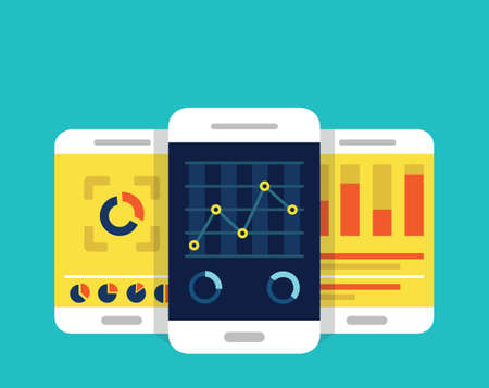 monitoring: Mobile dashboards with analytics information - vector illustration
