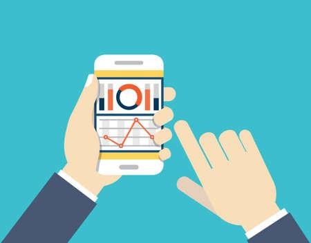 dashboard: Mobile phone with dashboard. Modern user interface for businessman - vector illustration Illustration