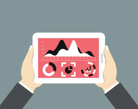 Mobiele tablet pc met het dashboard. Moderne gebruikersinterface voor zakenman met het verwerken van gegevens - vector illustratie Stock Illustratie
