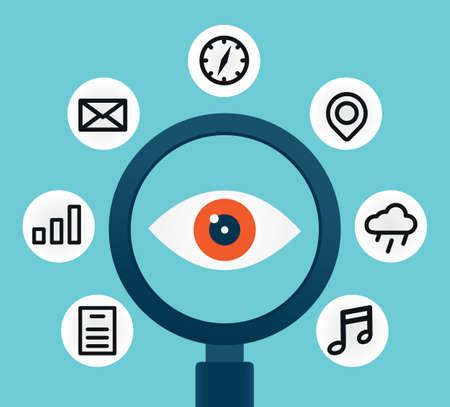 scrutiny: An�lisis y control de las diferentes informaciones - ilustraci�n vectorial