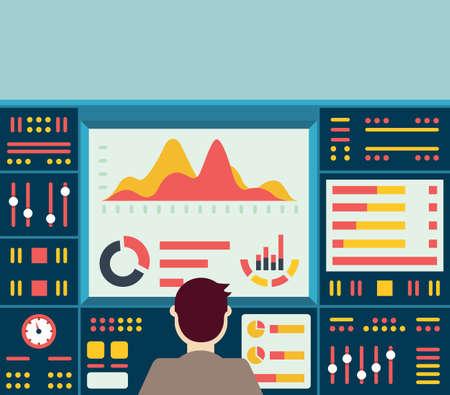 Vector illustratie van web analytics informatie op het dashboard en de ontwikkeling website statistiek - vector illustratie Vector Illustratie