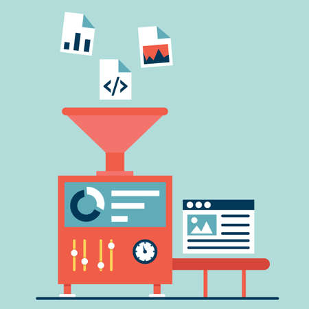 web content: Process of creating site. Process coding and programming. Design and programming - vector illustration