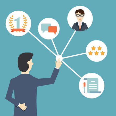 Customer Relationship Management. Sistema para la gestión de las interacciones con los clientes actuales y futuros - ilustración vectorial