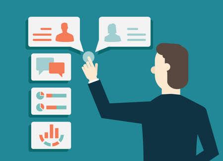 negociacion: Customer Relationship Management - ilustración vectorial Vectores