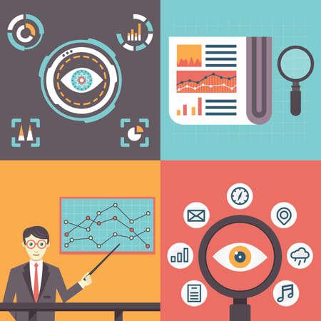 usability: Set of analytics information and data handling symbols - vector illustration Illustration