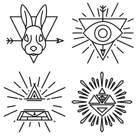 illuminati: Vector set of linear emblems and badges Illustration