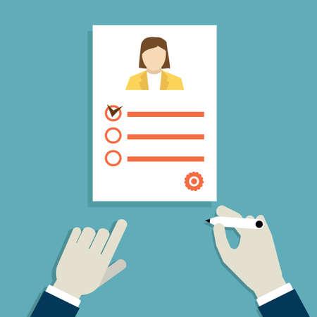 entrevista de trabajo: Concepto de entrevista de trabajo con el curriculum vitae de negocios - ilustraci�n vectorial Vectores