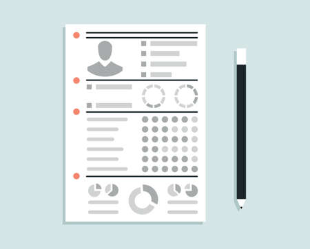 cognition: Business resume with personal information - vector illustration