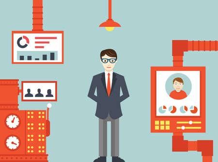 capitel: Sistema de gestión de recursos humanos - ilustración vectorial