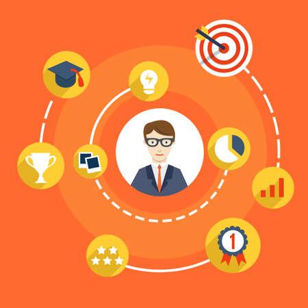 competencias laborales: Habilidades de usabilidad de hombre de negocios - ilustración vectorial