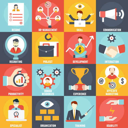 Set van Human Resources Management iconen - vector iconen Stock Illustratie