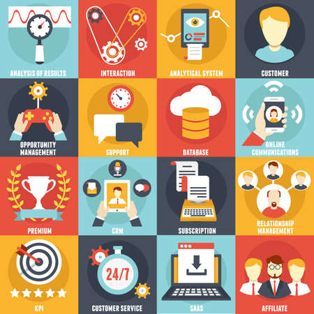 Set of Customer Relationship Management Icons - vector icons Illustration