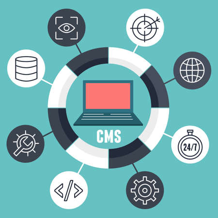 modifying: Concept of content management system. System that allows publishing, editing and modifying content, organizing and deleting - vector illustration