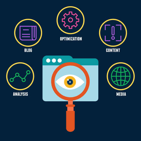 affecting: Search engine optimization is the process of affecting the visibility of a website. Symbols with keywords - vector illustration