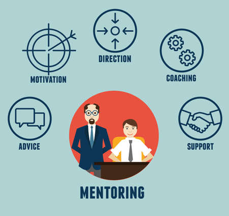 employee development: Vector concept of mentoring with components - vector illustration Illustration