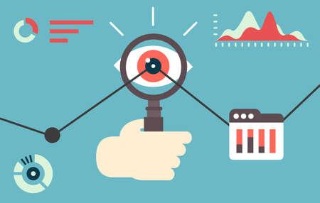 Platte vector illustratie van web analytics informatie en ontwikkeling website statistiek - vector illustratie