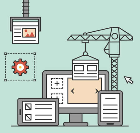 Process of creating site. Process coding and programming. Design and programming - vector illustration Vector