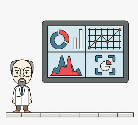 handling: Analysis of information on the dashboard. Monitoring and statistics - vector illustration