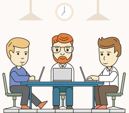 Reunión de negocios en el entorno de trabajo compartido. Las personas que trabajan en los ordenadores en el espacio de trabajo - ilustración vectorial