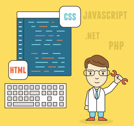 php: Flat linear concept of programmer or coder workflow for website coding and html programming of web application - vector illustration
