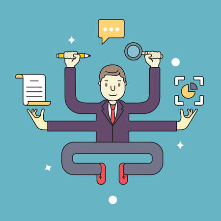 self development: Concept of multitasking businessman who works with more arms. Management and multitasking - vector illustration Illustration