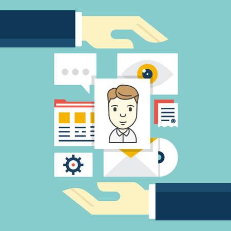 고객 관계 관리의 개념입니다. 벡터 일러스트 레이 션 - 서비스로서의 소프트웨어