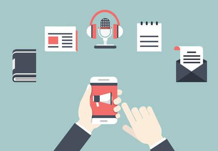 コンテンツのマーケティングの概念。ベクトル イラスト - クライアントと対話する方法  イラスト・ベクター素材