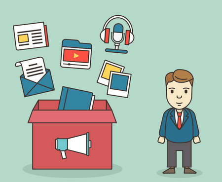 e magazine: Customer contacts of electronic customer relationship management: mobile marketing, email marketing, video marketing, blogs, podcasts and digital marketing - vector illustration