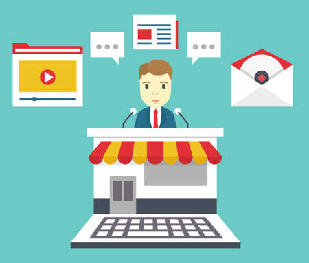 Customer Relationship Management. Means of interacting with customers: blog, newspaper, email marketing, video marketing, software, webinar, podcast - vector illustration