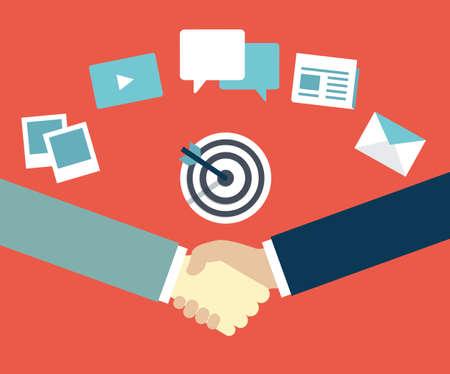 relation clients: Gestion De La Relation Client. Marketing de contenu comme moyen d'interaction entre le fournisseur et le client - illustration vectorielle