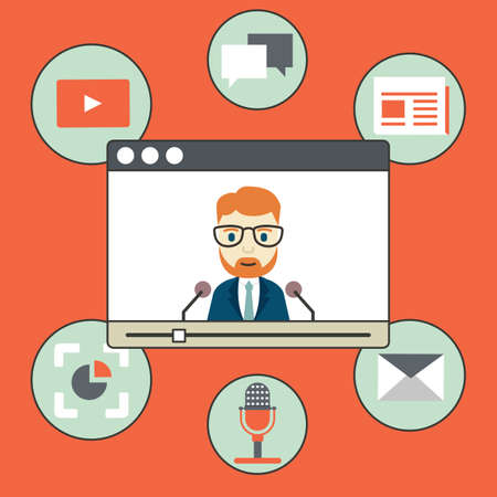 video chat: Webinar - kind of web conferencing, holding online meetings and presentations over internet - vector illustration