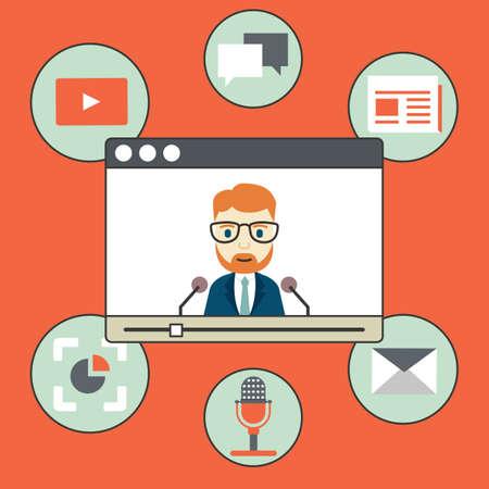 Webinar - kind of web conferencing, holding online meetings and presentations over internet - vector illustration