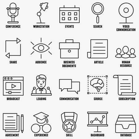 experience: Vector set linear business education icons - part 1 - vector icons Illustration