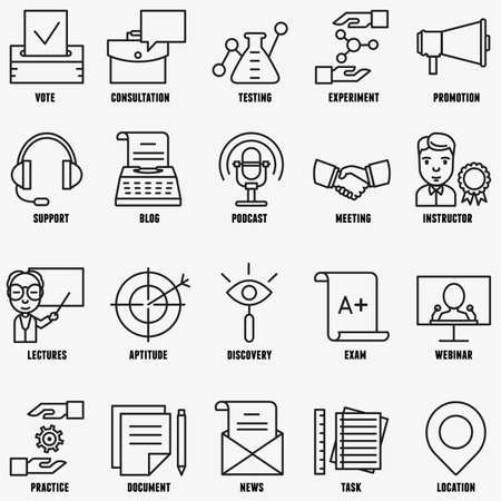 interview: Vector set linear business education icons - part 2 - vector icons