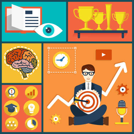 e data: Vector illustration concept of increase business knowledge and experience. Human resources and abilities - vector illustration